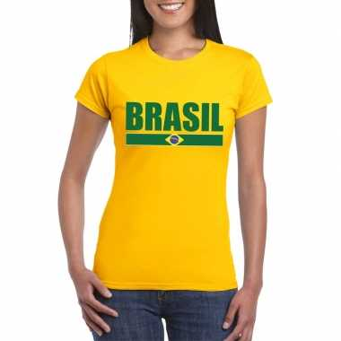 Geel brazilie supporter t-shirt voor dames