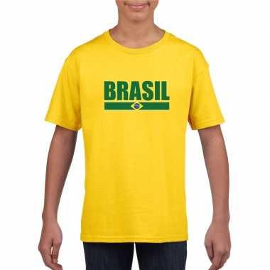 Geel brazilie supporter t-shirt voor kinderen