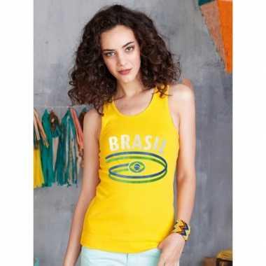 Geel dames shirtje met braziliaanse vlag 10048402