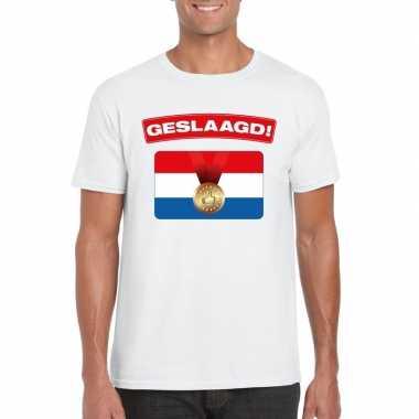 Geslaagd vlag t-shirt wit heren