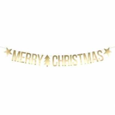 Gouden merry christmas kerst decoratie vlaggenlijnen/slingers 175 cm