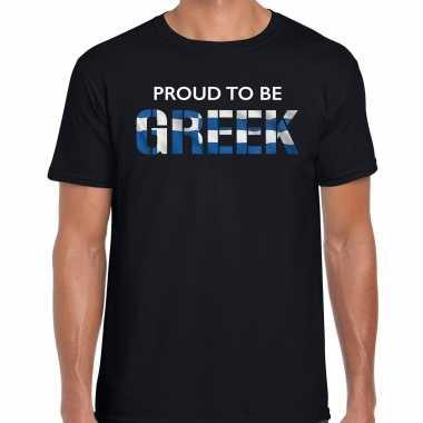 Griekenland proud to be greek landen t-shirt zwart heren