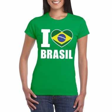 Groen i love brazilie fan shirt dames