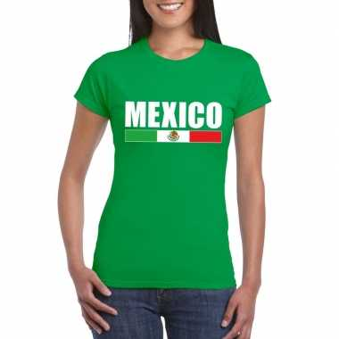 Groen mexico supporter t-shirt voor dames