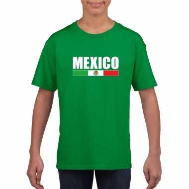 Groen mexico supporter t-shirt voor kinderen