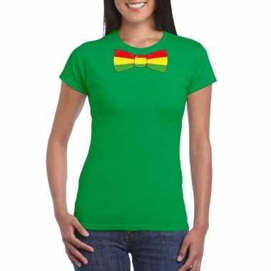 Groen t-shirt met limburgse vlag strik voor dames
