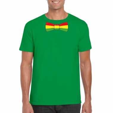 Groen t-shirt met limburgse vlag strik voor heren