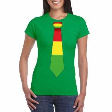 Groen t-shirt met limburgse vlag stropdas voor dames