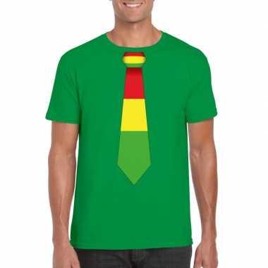 Groen t-shirt met limburgse vlag stropdas voor heren