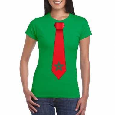 Groen t-shirt met marrokko vlag stropdas dames