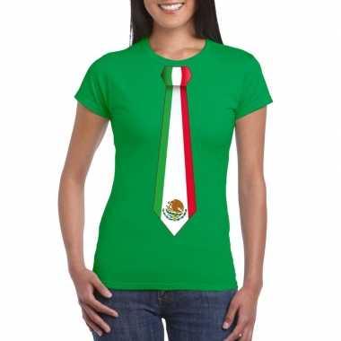 Groen t-shirt met mexico vlag stropdas dames