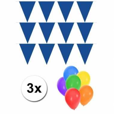 Groot formaat blauwe vlaggenlijnen 3st incl gratis ballonnen