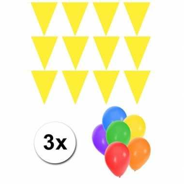 Groot formaat gele vlaggenlijnen 3st incl gratis ballonnen