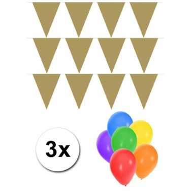 Groot formaat gouden vlaggenlijnen 3st incl gratis ballonnen