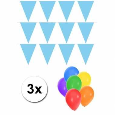 Groot formaat lichtblauwe vlaggenlijnen 3st incl gratis ballonnen
