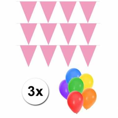 Groot formaat lichtroze vlaggenlijnen 3st incl gratis ballonnen