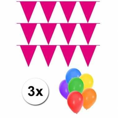 Groot formaat magenta roze vlaggenlijnen 3st incl gratis ballonnen