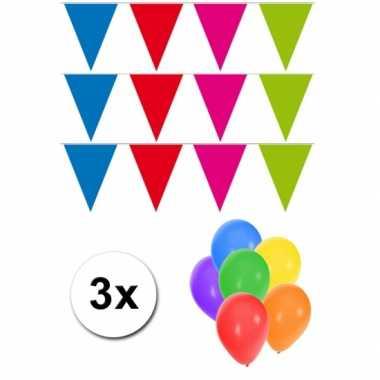Groot formaat meerkleurige vlaggenlijnen 3st incl gratis ballonnen
