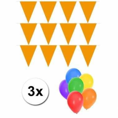 Groot formaat oranje vlaggenlijnen 3st incl gratis ballonnen