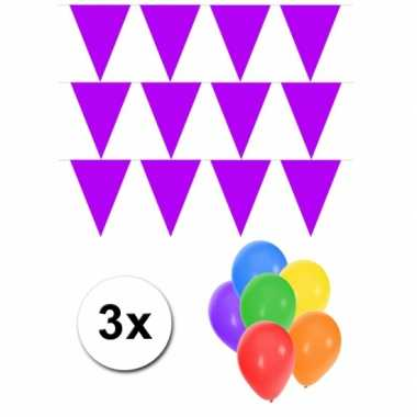 Groot formaat paarse vlaggenlijnen 3st incl gratis ballonnen