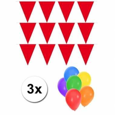 Groot formaat rode vlaggenlijnen 3st incl gratis ballonnen