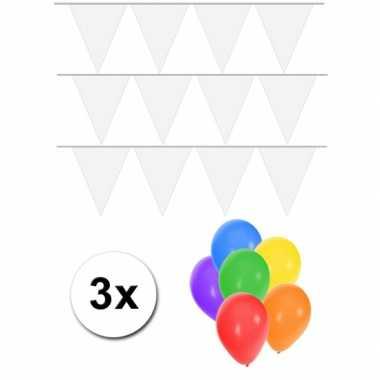 Groot formaat witte vlaggenlijnen 3st incl gratis ballonnen