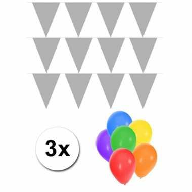 Groot formaat zilveren vlaggenlijnen 3st incl gratis ballonnen