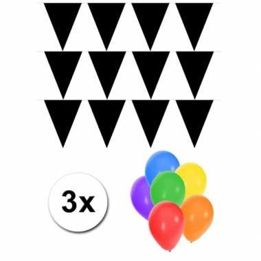 Groot formaat zwarte vlaggenlijnen 3st incl gratis ballonnen