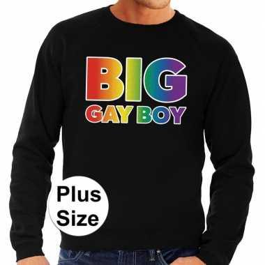 Grote maten big gay boy regenboog sweater zwart voor heren
