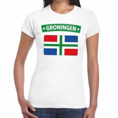 Grunnen vlag t-shirt wit voor dames
