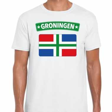 Grunnen vlag t-shirt wit voor heren