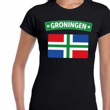 Grunnen vlag t-shirt zwart voor dames