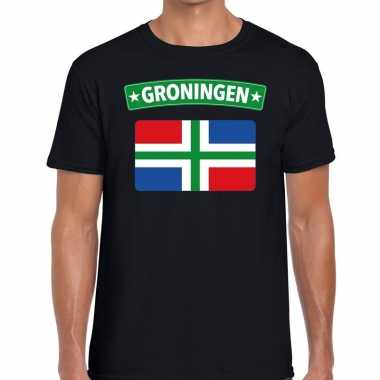 Grunnen vlag t-shirt zwart voor heren