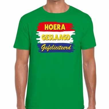 Hoera geslaagd gefeliciteerd t-shirt groen heren