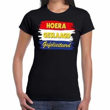 Hoera geslaagd gefeliciteerd t-shirt zwart dames