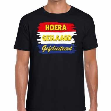 Hoera geslaagd gefeliciteerd t-shirt zwart heren