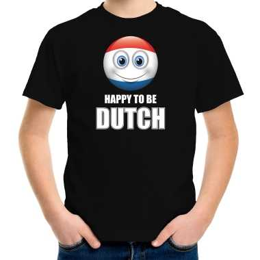 Holland emoticon happy to be dutch landen t-shirt zwart kinderen