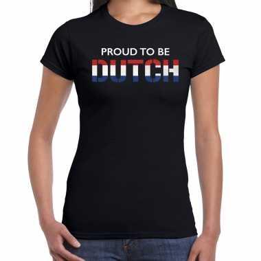 Holland proud to be dutch landen t-shirt zwart dames