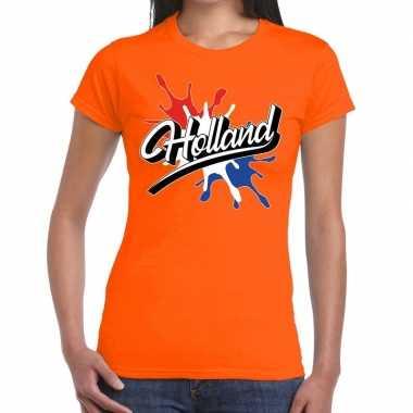 Holland t-shirt spetter oranje voor dames