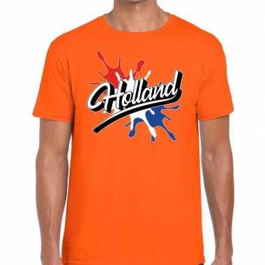Holland t-shirt spetter oranje voor heren