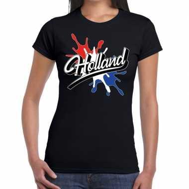 Holland t-shirt spetter zwart voor dames