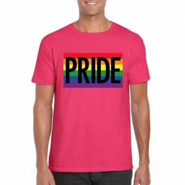 Homo shirt pride regenboog vlag heren roze