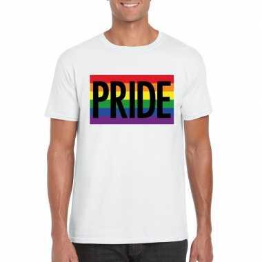 Homo shirt pride regenboog vlag heren wit