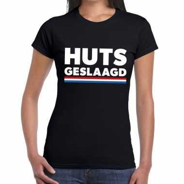 Huts geslaagd met vlag tekst t-shirt zwart dames