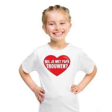 Huwelijksaanzoek t-shirt wil je met papa trouwen wit kinderen