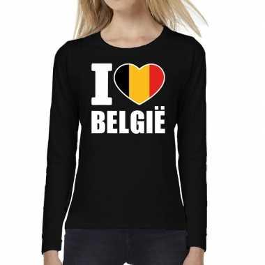 I love belgie long sleeve t-shirt zwart voor dames