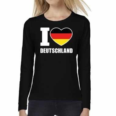 I love deutschland long sleeve t-shirt zwart voor dames