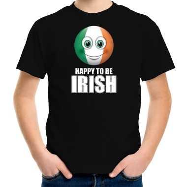 Ierland emoticon happy to be irish landen t-shirt zwart kinderen