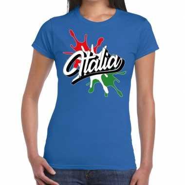 Italia/italie t-shirt spetter blauw voor dames