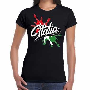 Italia/italie t-shirt spetter zwart voor dames